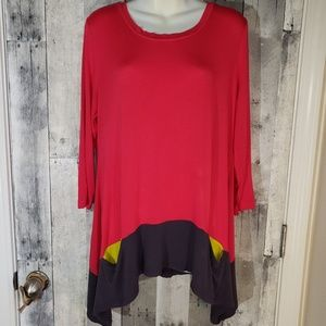 LOGO contrast pockets & hem tunic top large 12/14